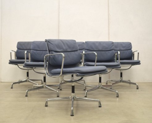 Set of 8 Vitra EA207 Soft Pad Chair by Charles Eames in Rare Jeans-Grey