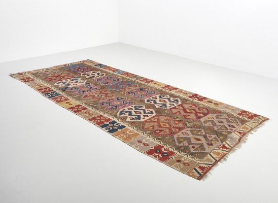 Large multicolored kilim rug in wool & cotton