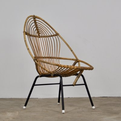 Rattan Lounge Chair from Rohé Noordwolde, 1960s