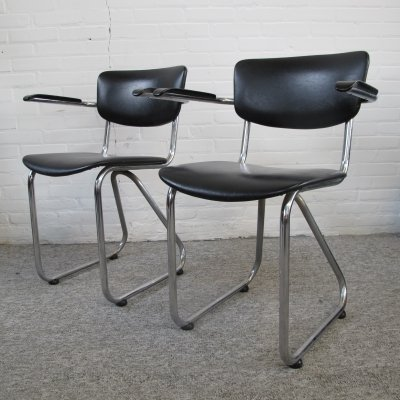 Pair of vintage tubular frame dining chairs, 1960s