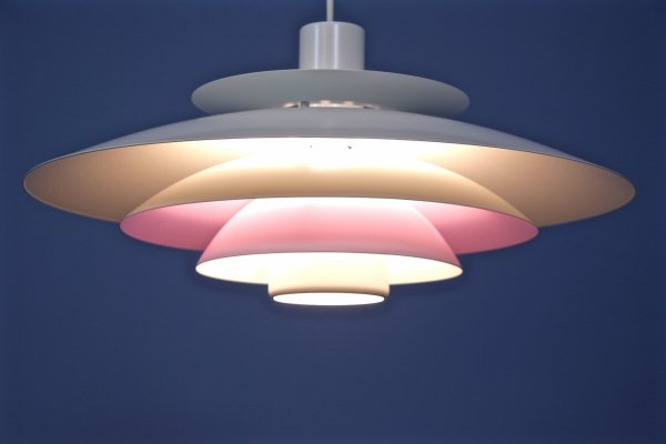 Danish pendant in white with pink/lilac accent by Form Light, 1960s