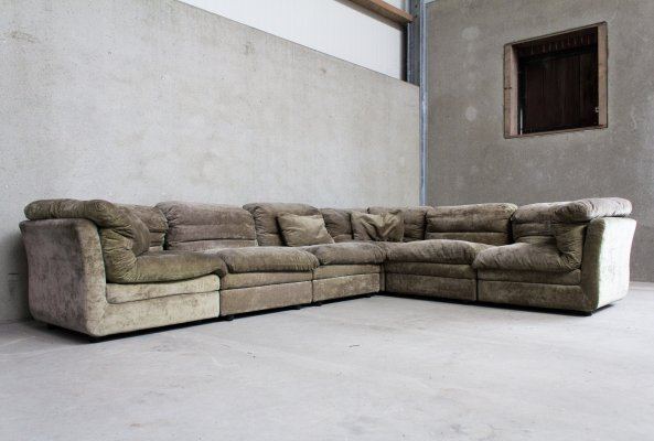 Modular Sofa in Green Velvet Cord by Rolf Benz