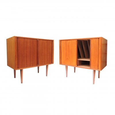 Pair of Danish Teak Record Player/Bar Cabinets by Kai Kristiansen for Fm Møbler, 1960s