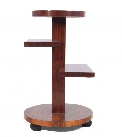 Art Deco Walnut & Rosewood Side Table