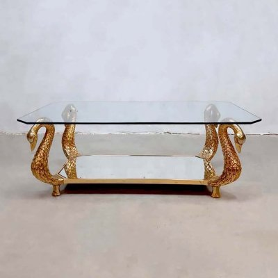 Vintage eclectic Italian brass 'Swan' coffee table