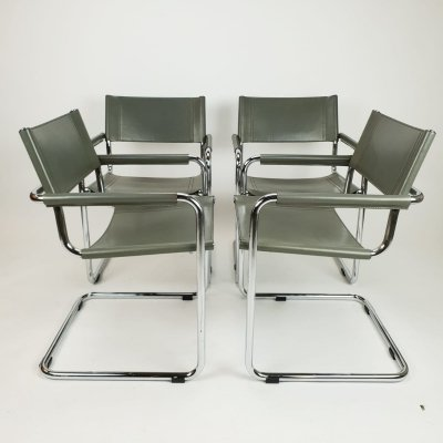 Set of 4 'S34' Dining Chairs by Mart Stam for Fasem, 1980's