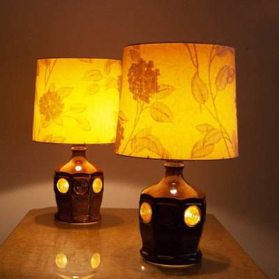 Pair of 1970s Ceramic Desk lamps with Jacquard Lamp Shade