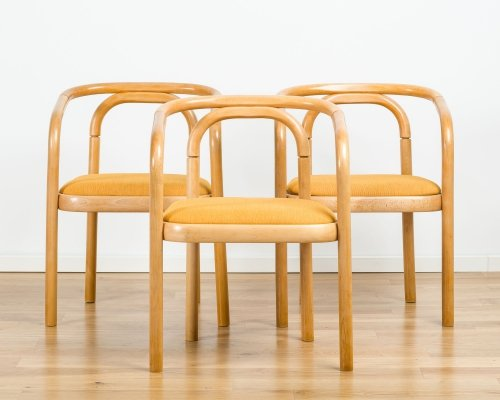 A set of 3 Beech Bentwood Dining Chairs from TON, 1990s