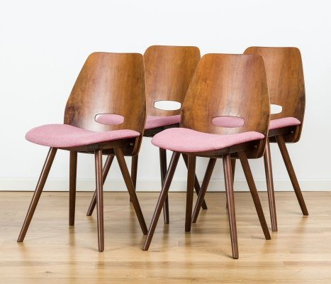 Set of 4 dining Chairs by Frantisek Jirak for Tatra, 1960's