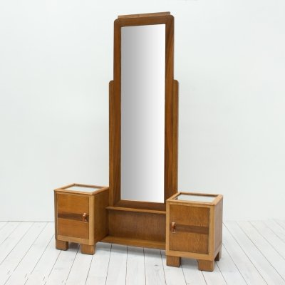 1930s Art Deco Oak & Walnut Cheval/Hall Mirror