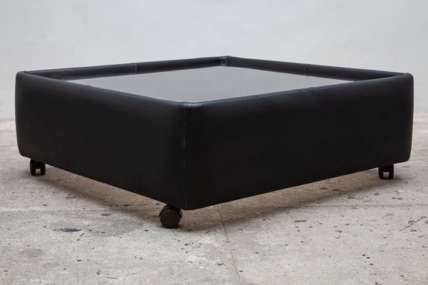 De Sede Black Leather Adjustable Coffee or Side Table with Glass Top, 1970s