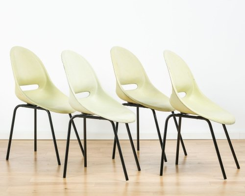 A set of 4 industrial chairs, 1970s