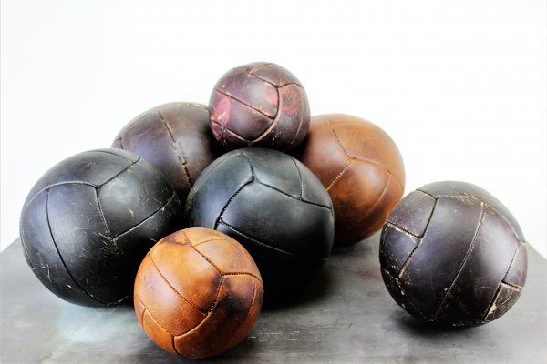 Leather balls in three sizes, 1960s