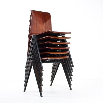 Set of 6 Galvanitas S22 school chairs in brown plywood & black metal