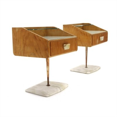 Pair of Mid-century nightstands with marble base, 1950s