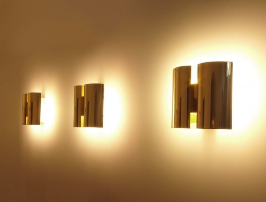 Set of 3 Scandinavian Brass Wall Lights by Falkenbergs, Sweden