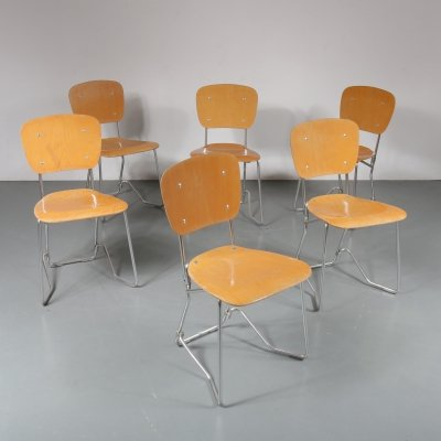 Set of 6 'Aluflex' chairs by Armin Wirth, 1950s