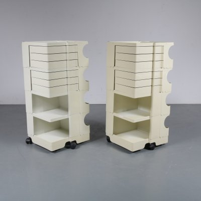Pair of Plastic architect's trolleys by Joe Colombo, 1970s