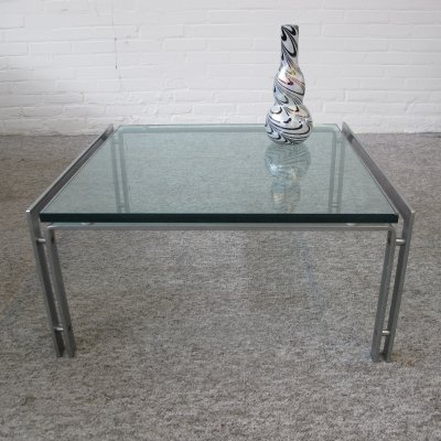 Glass And Chrome 'M1' Table by Hank Kwint for Metaform, 1970s