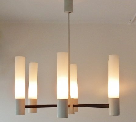 Modernist 6 arm pendant chandelier, 1960s - 1970s
