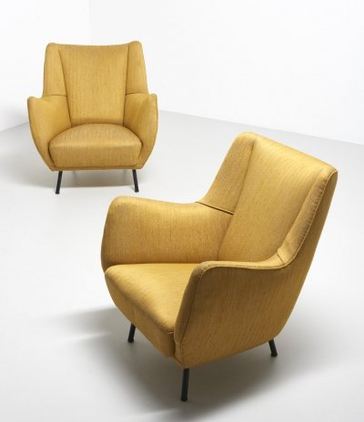Pair of Italian easy chairs, 1950s