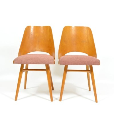 Pair Of Dining Chairs By Ton with Bended Plywood & Upholstered Seats, 1960s