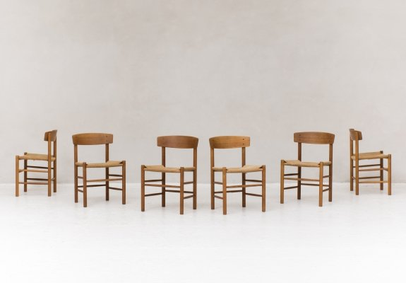 Set of 6 'model J39 / The People's Chair' dining chairs by Borge Mogensen