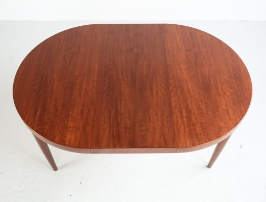 Danish round table in teak with 2 extensions by Kai Kristiansen, 1960s