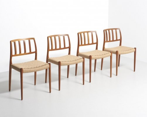 Set of 4 dining chairs in papercord by Niels O. Møller