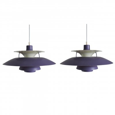 Vintage Purple PH5 Pendant Lamp by Poul Henningsen for Louis Poulsen, 1950s