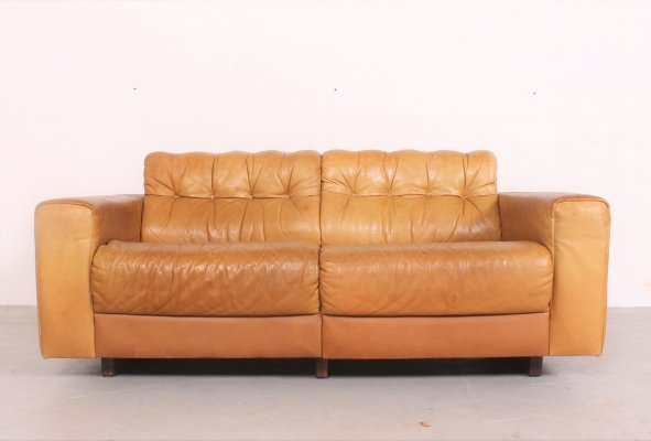 Comfortable & rare De Sede 'DS40' 2-seater in cognac leather