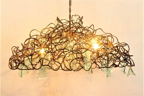 Giant chandelier with gold-sprayed metal & glass pieces