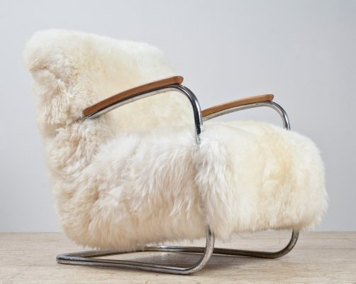 Dutch Bauhaus tubular armchair by De Cirkel Amsterdam in sheepskin & metal, 1930s