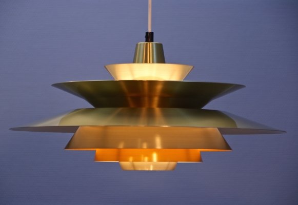 Danish pendant in brass with yellow accent, 1960s