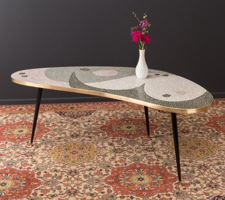 Kidney-shaped coffee table with mosaic, 1950s