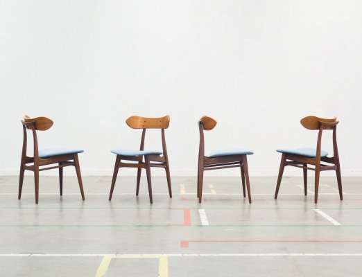 Set of 4 Kastrup dining chairs by Louis van Teeffelen for Wébé, 1950s