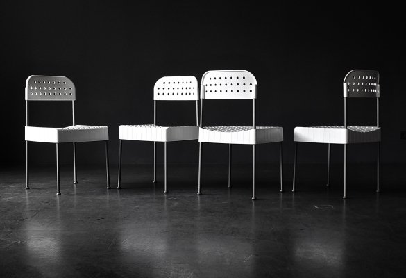 Set of 4 Box dining chairs by Enzo Mari for Anomia Castelli, 1970s