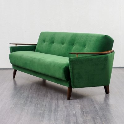 1950s emerald green sofa with fold-out function