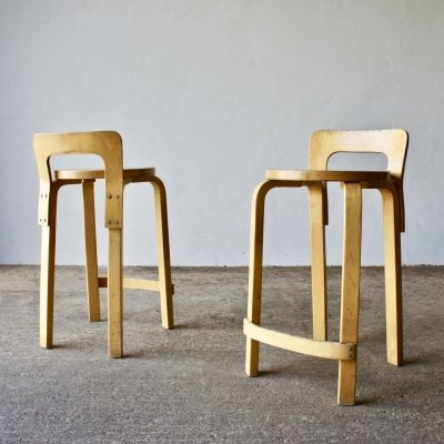 Pair Of Vintage K65 High Chairs By Alvar Aalto For Artek