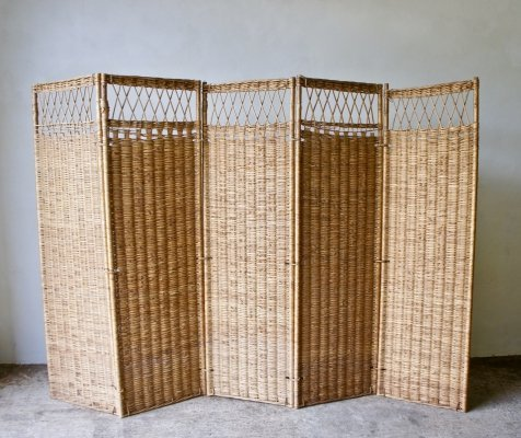 Mid Century Wicker Screen Room Divider, 1960s