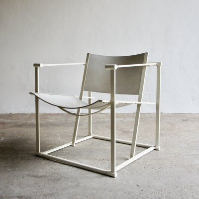White Leather FM62 Chair By Radboud Van Beekum For Pastoe