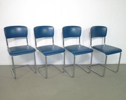 Set of 4 Gispen Tubular steel chairs