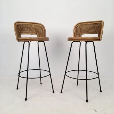 Pair of Wicker & Iron Stools by Seng, Chicago c.1950