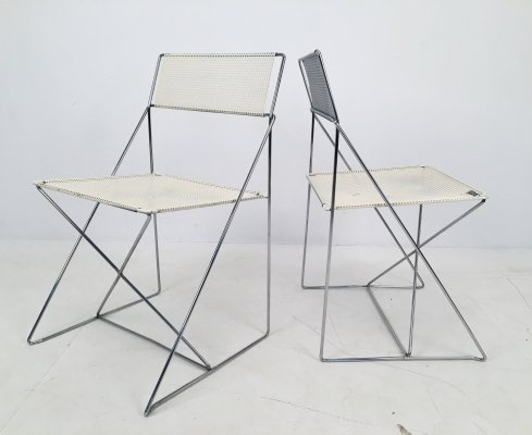 Pair of X-Line Chairs by Niels Jørgen Haugesen for Hybodan, c.1970