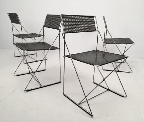 Set of 4 X-Line Chairs by Niels Jørgen Haugesen for Hybodan, c.1970