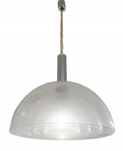 Four-Layer Murano 'Pulegoso' Glass Pendant Lamp By Carlo Nason For Mazzega, 1960s