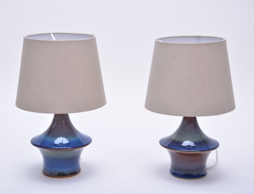 Pair of Blue Ceramic Lamps by Soholm Stentoj