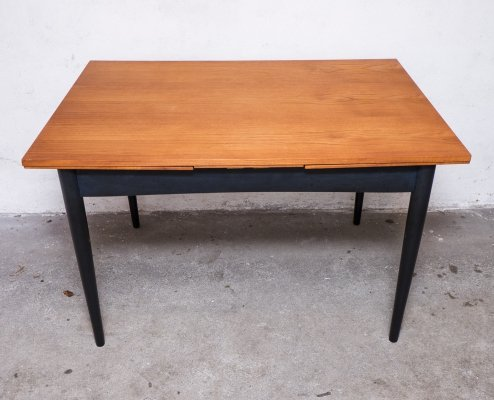 Scandinavian Teak & Black Extendable Dining Table, 1960s