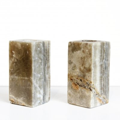 Vintage marble candle holders, 1970s