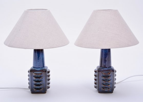 Pair of small blue Danish table lamps by Soholm